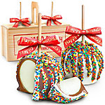 A Gift Inside Happy Birthday Chocolate Covered Caramel Apples Pair In A Wooden Gift Crate
