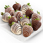 A Gift Inside Dark, Milk And White Delight Chocolate Covered Strawberries - 12 Berries