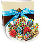 A Gift Inside Happy Birthday Chocolate Covered Strawberries - 12 Berries With Birthday Ribbon