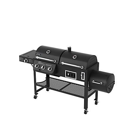 Smoke Hollow 4-in-1 Combination 3-Burner Gas Grill with Side Burner, Charcoal Grill and Smoker/Firebox