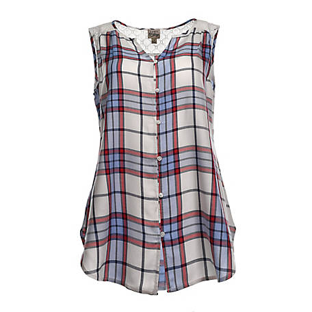 Como Vintage Women's Sleeveless Plaid Embroidered Shirt