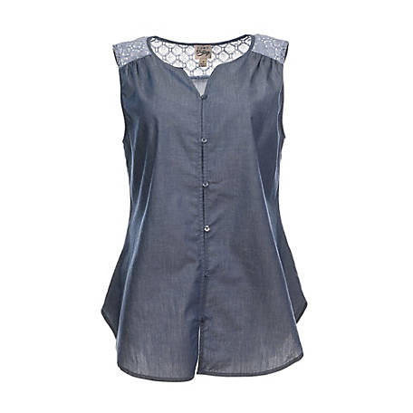 Como Vintage Women's Sleeveless Chambray Embroidered Shirt