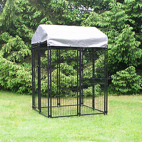 KennelMaster 4 ft. x 4 ft. x 6 ft. Welded Wire Dog Fence Kennel Kit, DK644WC