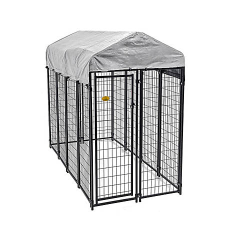 KennelMaster 8 ft. x 4 ft. x 6 ft. Black Powder Coated Kennel, DK648WC