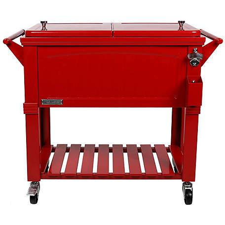 Permasteel Rolling Furniture-Style Cooler, 80 qt., PS-203F1-RED