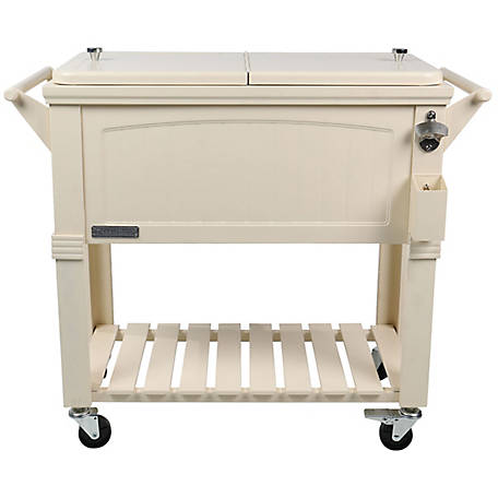 Permasteel Rolling Furniture-Style Cooler, 80 qt., PS-203F1-CRM