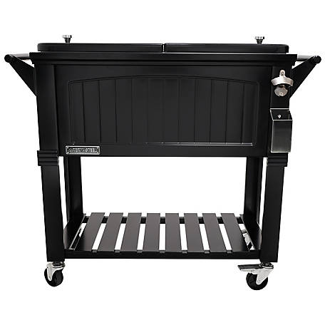 Permasteel Rolling Furniture-Style Cooler, 80 qt., PS-203F1-BLK