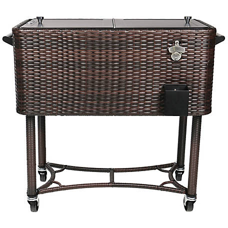 Permasteel Rolling Wicker Cooler, PS-208-BB