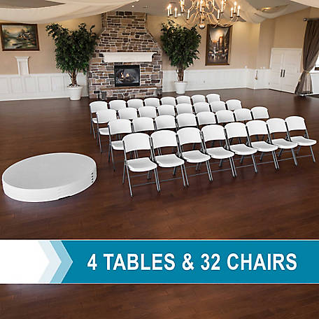 Lifetime 4-60 in. Round Stacking Tables 32 Chair, 80458