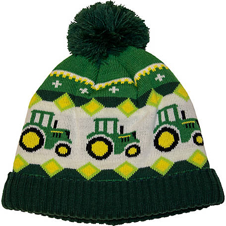 John Deere Hat Toddler Boy Tractor Stripe Knit