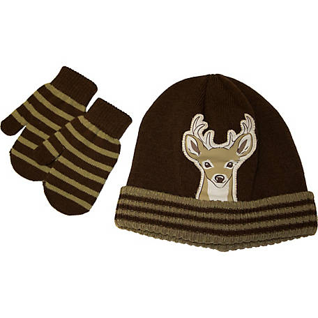 IQ Toddler Boy Hat Deer Hat & Mitten Set