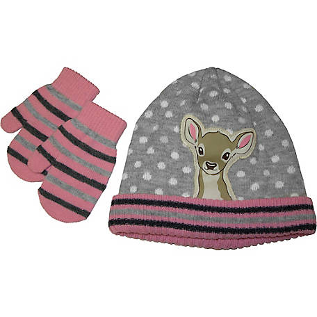 IQ Toddler Girl Hat Doe Hat & Mitten Set