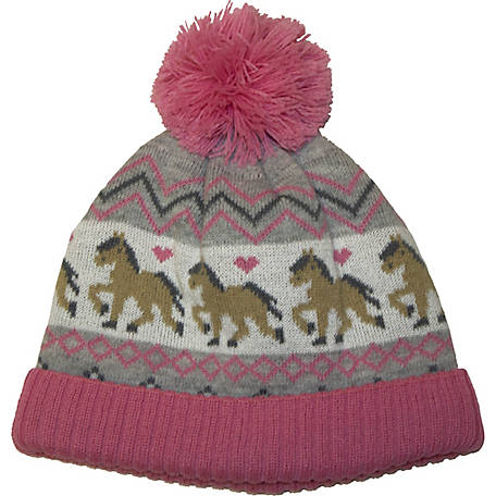 IQ Toddler Girl Hat Horse Stripe Knit