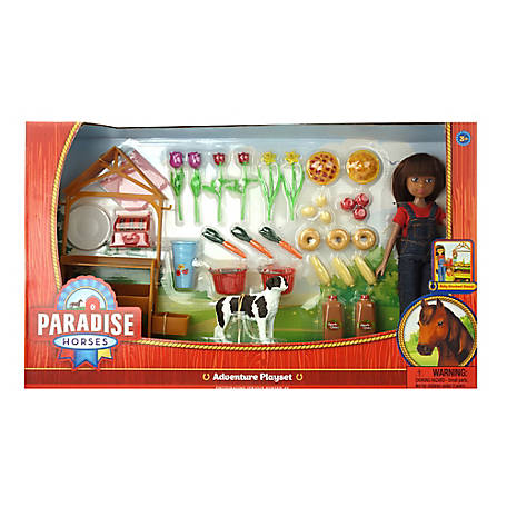 Paradise Horses 10 in. Doll Farm Stand Set, TSC0210