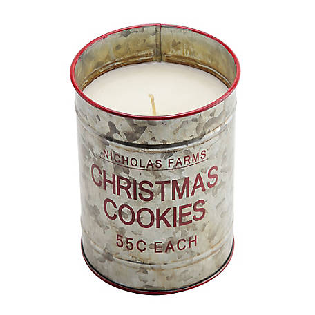 Red Shed Christmas Cookies Bucket Candle