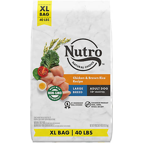 NUTRO WHOLESOME ESSENTIALS Large Breed Adult Natural Dry Dog Food, Farm-Raised Chicken, Brown Rice & Sweet Potato Recipe, 40 lb.