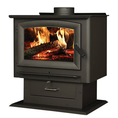 US Stove 2,000 sq. ft. Forester Pedestal Wood Stove with Blower, US2000E-BP
