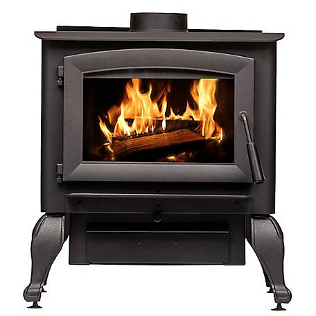 US Stove 2,500 sq. ft. EPA Certified Wood Burning Stove with Cast Iron Legs, US2500E-BL