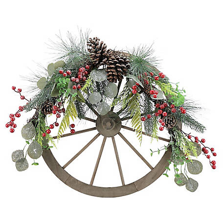 Red Shed Wagon Wheel Holiday Wreath