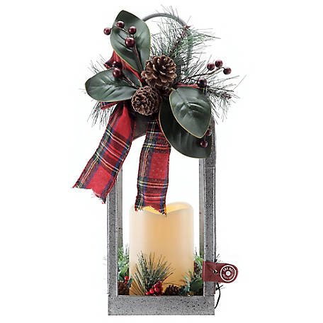 Red Shed Galvanized Christmas Lantern with LED Candle