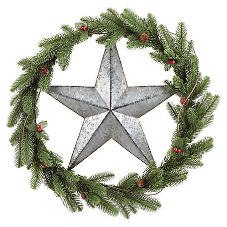 Red Shed Barn Star Greenery Wreath
