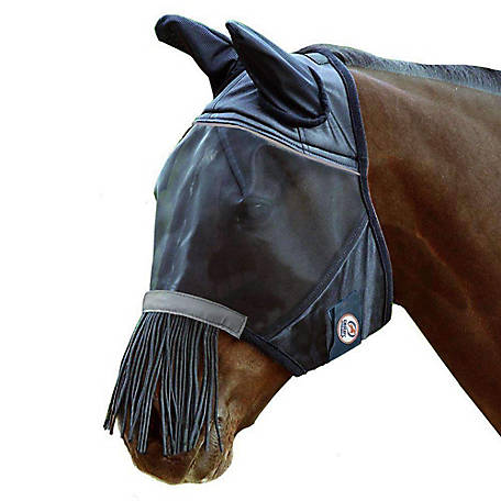 Derby Originals Reflective Fly Mask With Ears, 72-7181BK-PARENT