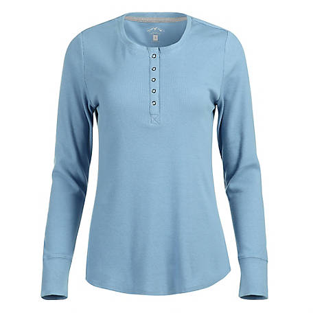 Blue Mountain Women's Long Sleeve Ribbed Henley FLK19