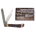 Old Timer Gunstock Trapper Folding Pocket Knife & Custom Cards, 1085944