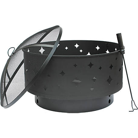 Bond Round Steel Star Fire Pit With Lid, 29 in., 51056