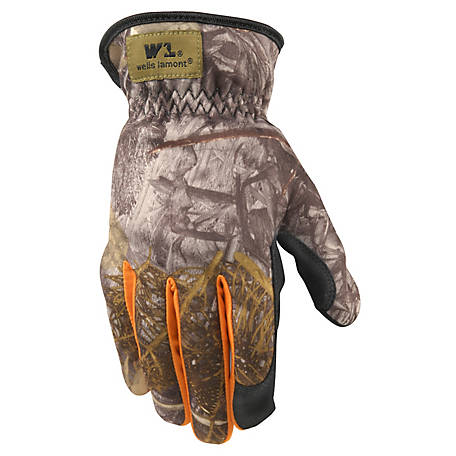 Wells Lamont Mens Camo Synthetic Leather Hidex Glove, 7703L