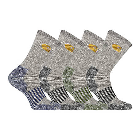 Carhartt Men's Thermal Crew Socks, 4 Pack, CHMA6954B4C4001