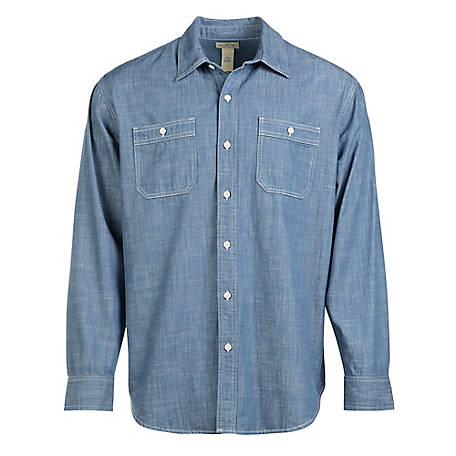 Blue Mountain Men's Long Sleeve Chambray Shirt