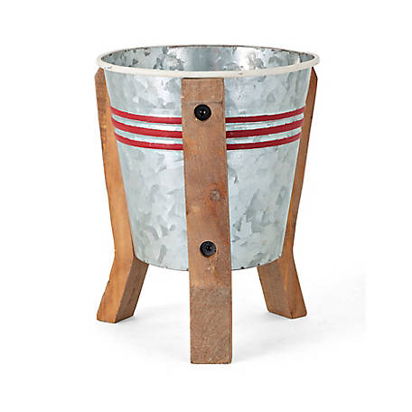 Trisha Yearwood Home Collection Galvaniced Striped Planter on Stand, SCTS13933