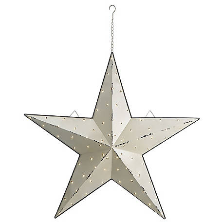Red Shed 36 in. Light Up Galvanized Barn Star, White