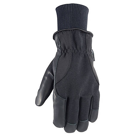 Wells Lamont Men's HydraHyde Insulated Grain Goatskin Gloves with Spandex Backside