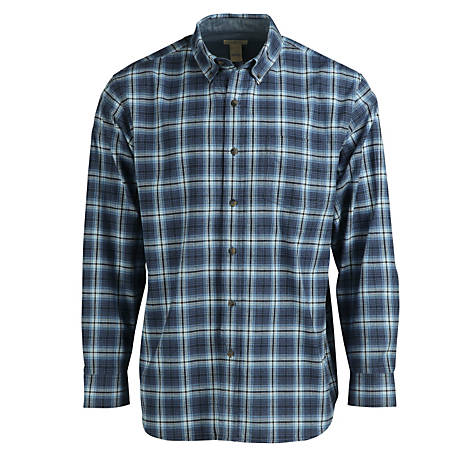 Blue Mountain Men's Long Sleeve Oxford Plaid Shirt, FMW19-11031