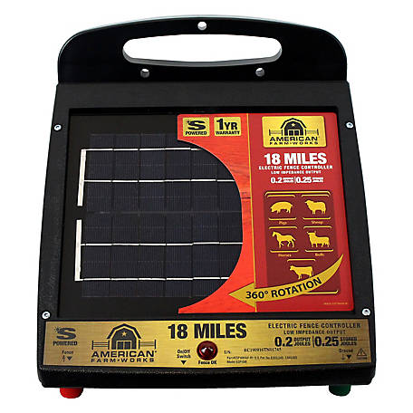 American FarmWorks American FarmWorks 18 Mile Solar Low Impedance Fence Charger, ESP18M-AFW