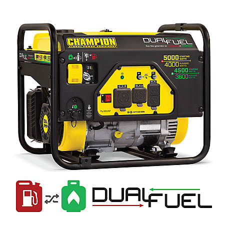 Champion Power Equipment 4000W 5000W Dual Fuel Generator Carb, 100629