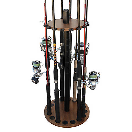 Rush Creek Creations Walnut 16 Round Rod Rack Steel Post, 38-3028