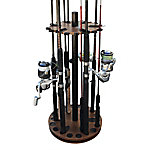 Rush Creek Creations Walnut 24 Round Spinning Rod Rack, 38-3032