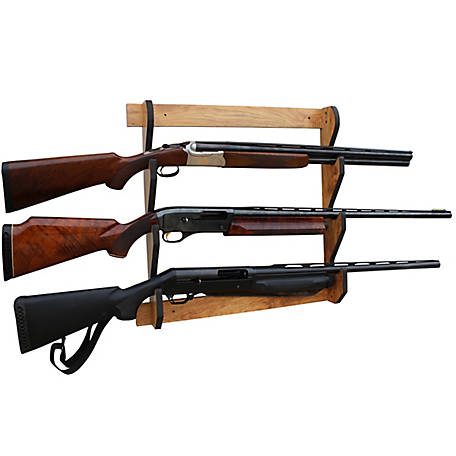 Rush Creek Creations Cherry 3 Long Gun Wall Display Rack, 38-4040
