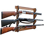 Rush Creek Creations Walnut 3 Long Gun Wall Display Rack, 38-4041