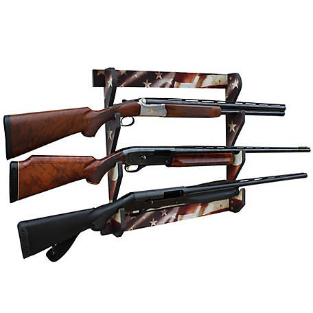 Rush Creek Creations Americana 3 Long Gun Wall Display Rack, 38-4043