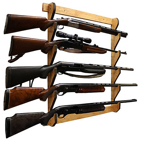 Rush Creek Creations Cherry 5 Long Gun Wall Display Rack, 38-4044