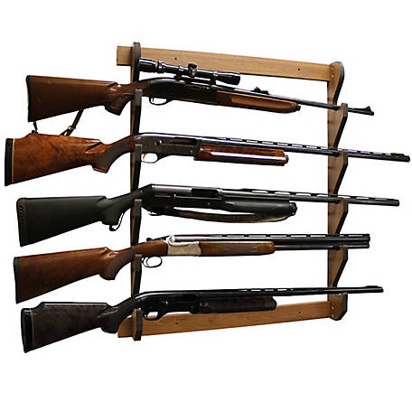 Rush Creek Creations Walnut 5 Long Gun Wall Display Rack, 38-4045