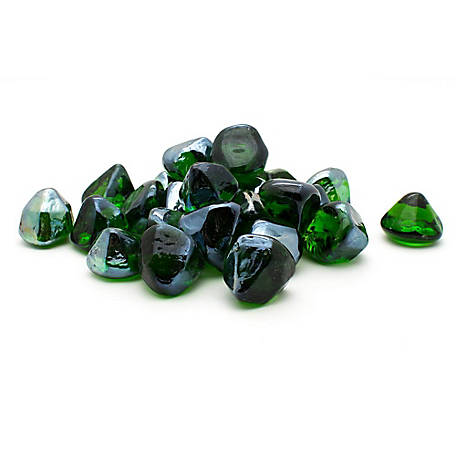 Margo Garden Products Decorative Fire Glass Green Diamonds, 20 lb.