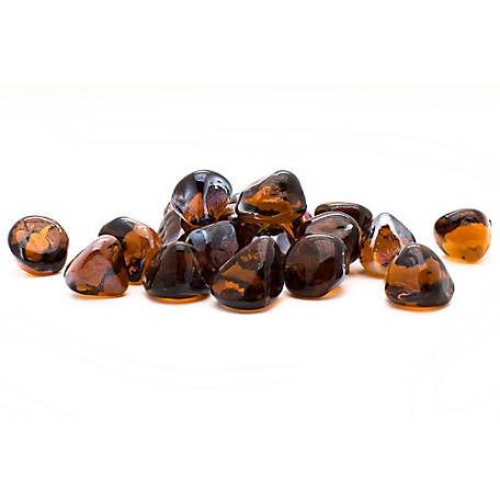 Margo Garden Products Decorative Fire Glass Amber Diamonds, 20 lb.