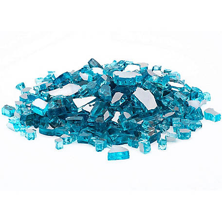 Margo Garden Products 1/4 in. 20 lb. Caribbean Blue Fire Glass, DFG20-R11