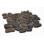 Rain Forest Stripe Sliced Polished Pebble Tile, 12 in. x 12 in.