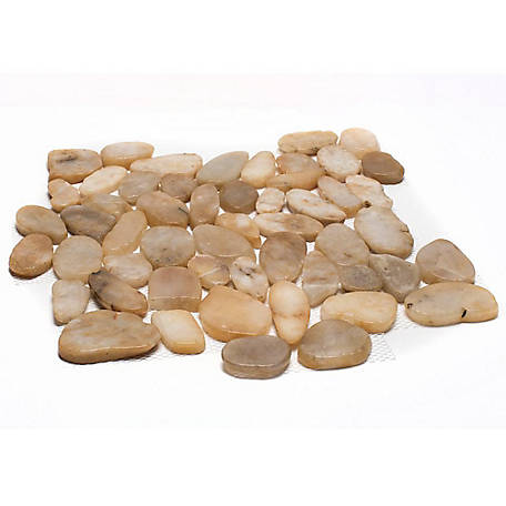 Rain Forest Yellow Sliced Polished Pebble Tile, 12 in. x 12 in.